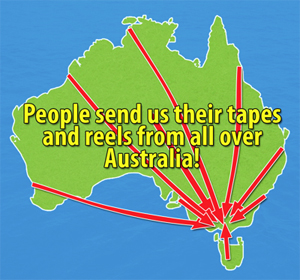 Map of Australia showing where people have sent us movies from